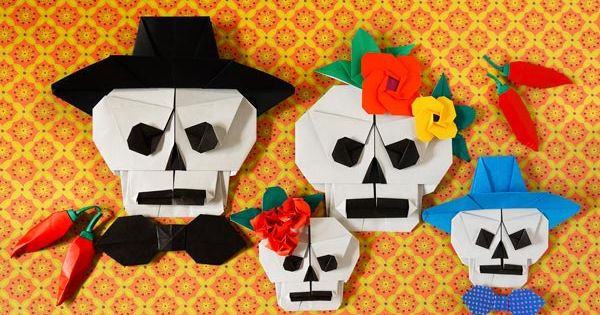 how to make an origami skull for halloween or the day of