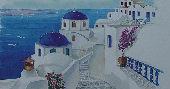 Santorini greece blue churches kirche sonne und for Santorini blue paint