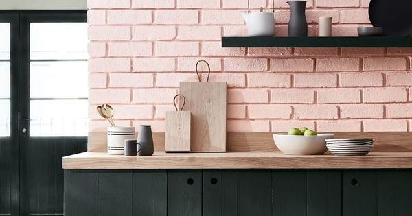 Pink Brick Backsplash And Green Cabinets Kitchens And