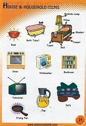 Household Items Vocabulary For Kids Household Items Household