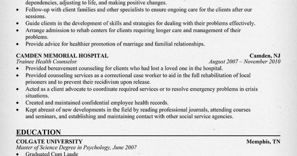 Health Counselor Resume + Free Resume (http\/\/resumecompanion - sample resume mental health counselor