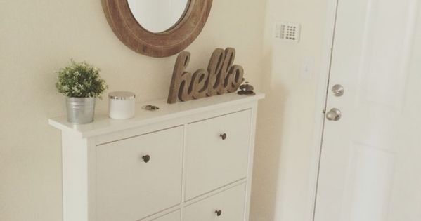 Our small entryway ikea hemnes shoe cabinet organization ideas pinterest entr e entr es - Amenagement entree ikea ...