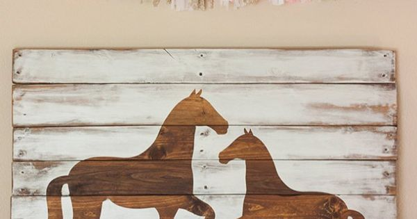 {Vintage pony party} - Horses silhouette Pallet Art - inspired by Pottery