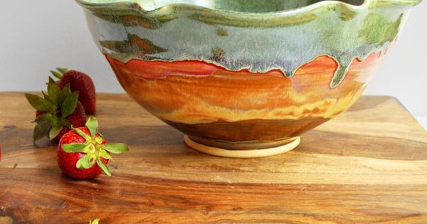 Pottery, Ceramic Flower Bowl in Autumn Song... Lee Wolfe Pottery Asheville, NC