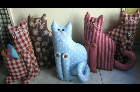 Cojines de tela en forma de gatos para decorar patchwork - Cojines de patchwork ...
