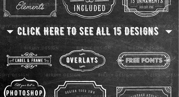 Chalkboard Frame and Label Overlays by BirDIY Design on @creativemarket