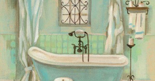 Silvia Vassileva Glass Tile Bath I Quadros Para Banheiro Decupagem Imprimiveis
