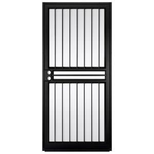 Unique Home Designs Guardian 36 In X 80 In Black Outswing Security Door With Shatter Resistant Gla Steel Security Doors Steel Door Design Unique House Design