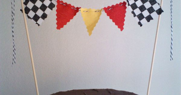 Cake Topper Boys Race Car Flags, Nascar, Monster Truck Cake Bunting Flags.