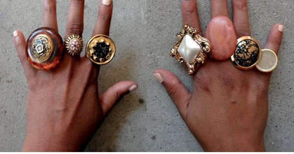 DIY Button Statement Rings. diy rings