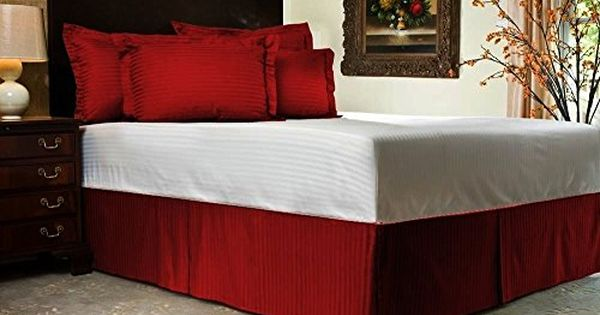 Flyingcart Soft 800 Thread Count Egyptian Cotton Twin Extra Long 1pc Good Looking Bed Skirt With 9 Drop Lenth Red Bedskirt Striped Bedding Purple Bedding