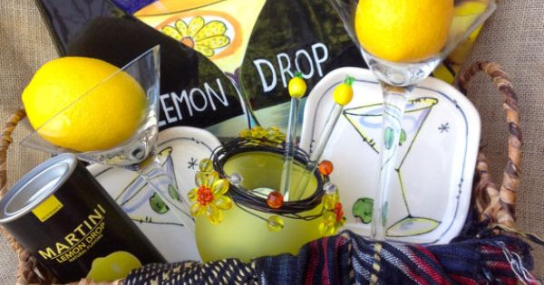 Unique+Gift+Basket++LEMON+DROP+MARTINI++Yellow+and+by