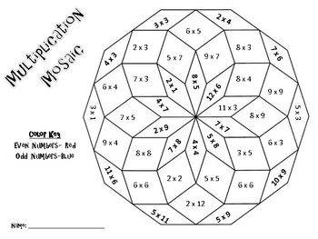 Multiplication Mosaics Solve And Color By Number Pack Multiplication Christmas Math Worksheets Math Coloring