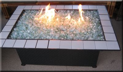Diy propane fire pits and the glass that goes in them for Concreteworks fire table