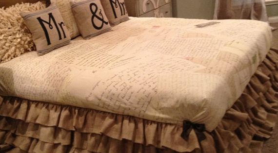 """Burlap and Wood. A duvet cover with French script writing is great"