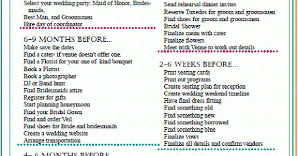 This website DIY Bride provides brides with an ultimate Wedding Planning Timeline/Checklist.