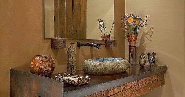 Encantadores ba os r sticos mesa de madera lavabo y piedra for Banos de madera y piedra
