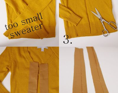 Turn a too-small sweater into a cardigan: | 20 Easy Tricks For