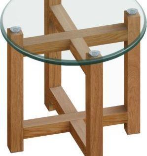 Pkline Beistelltisch 50cm Holz Tisch Eiche Massiv Glastisch