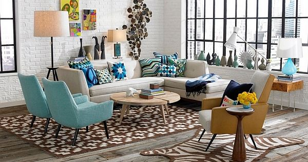 Fabulous living room with a cool collection of vases. Retro Living Room