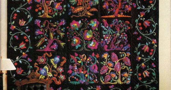 black background applique quilt
