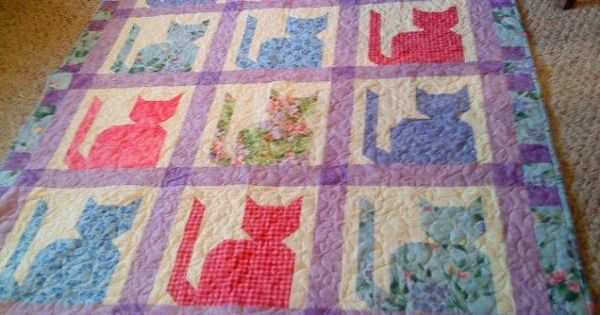 Cute Cat Quilt And Free Pattern At Craftsy