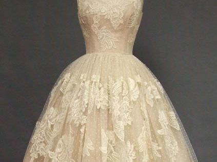 EXQUISITE Ivory Lace & Pink Organdy 1950's Cocktail Dress VINTAGEOUS VINTAGE CLOTHING