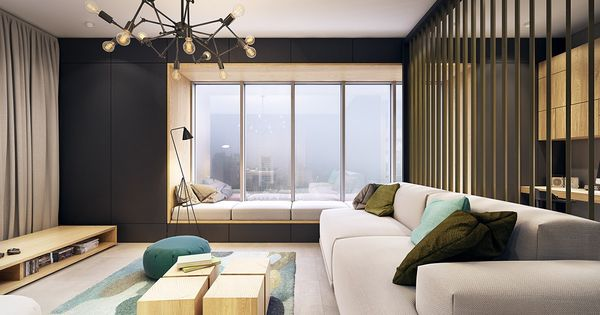 This Contemporary Apartment Pops With Turquoise Accents  living room  Pinterest ...