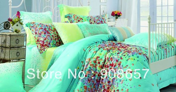 Print Green Turquoise Print Cotton Bedding Set Duvet