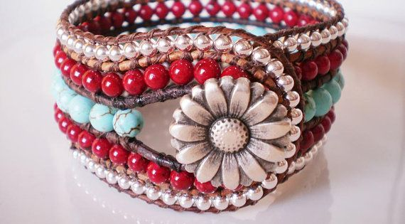 Big Red Cuff Turquoise Magnesite Red Riverstone Silver Beads