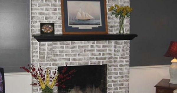 Painted Gray Fireplaces Brick Fireplace Brick