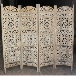 Hand Carved Indian Partition Screen Room Divider Whitewash Partition Screen Indian Bedding Room Divider