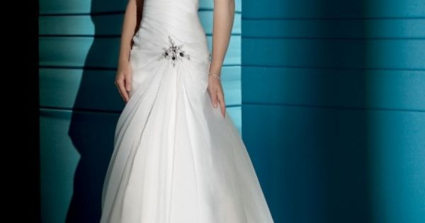 Wedding dress ideas: Chic straps A-line sweep/brush train bridal gowns