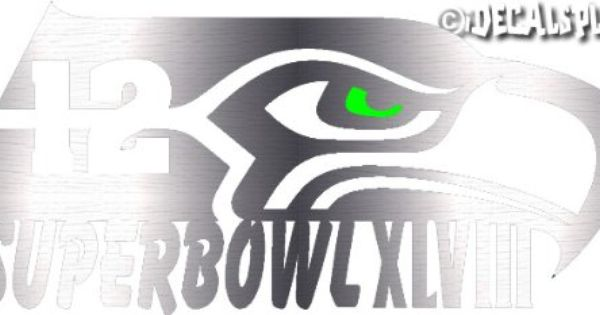 10 Seattle Seahawks Limited Edition Superbowl Brushed Aluminum Vinyl Decal Idecalsplus Vinyl Decals Brushed Aluminum Vinyl
