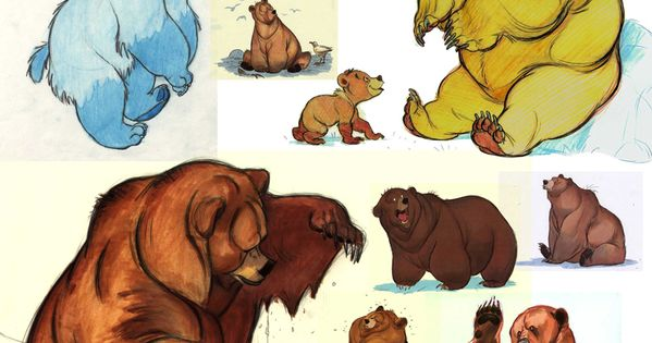 "Character concepts for ""Brother Bear"". OMG at the early version of Koda!"