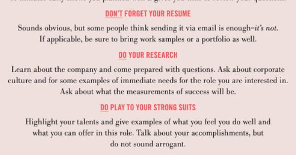 Getting ready for an interview? Here are some of our Do's and Don'ts ...