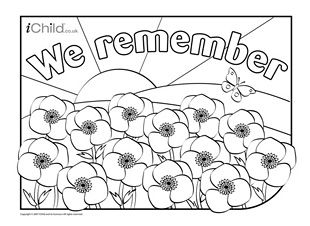 We Remember Poppy Field Colouring In Picture Ichild Remembrance Day Poppy Remembrance Day Activities Poppy Coloring Page