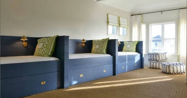 wall of built-in twin beds | Bed ideas | Pinterest | Twin beds, Twins and  Blue bed