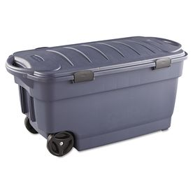 Centrex Rugged Tote 50 Gallon 200 Quart Gray Tote With Standard Snap Lid At Lowes Com Storage Box On Wheels Rubbermaid Storage Bins Storage Bins With Wheels