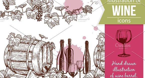Wine Sketch icons Illustrations – vector suitable for prints, packaging.
