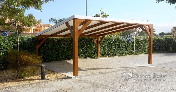 P rgola de sombraje para parking de 2 plazas estructura en vigas de madera laminada tratada - Parking de madera ...
