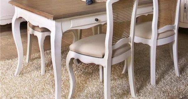 Juego comedor antiguo laqueado blanco buscar con google for Juego de comedor redondo 4 sillas