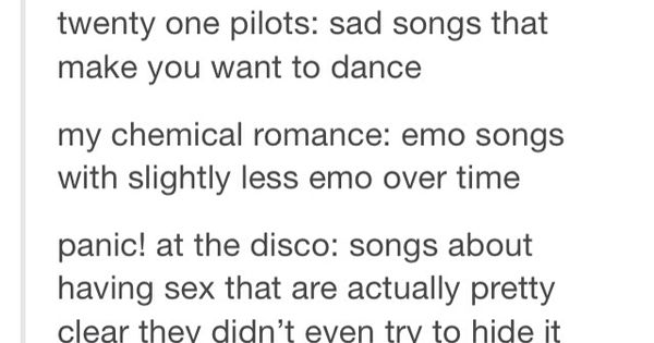 Fall Out Boy Twenty One Pilots My Chemical Romance And Panic At The Disco Explained