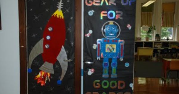 Robot Classroom Decor : Awesome space rocket and robot classroom door for school