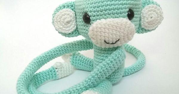 Amigurumi Cotton Yarn : Monkey curtain tie back, cotton yarn crochet monkey ...