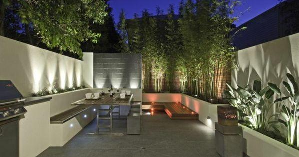 bereich bambus sichtschutz steinmauer kamin   garten   pinterest, Gartenarbeit ideen