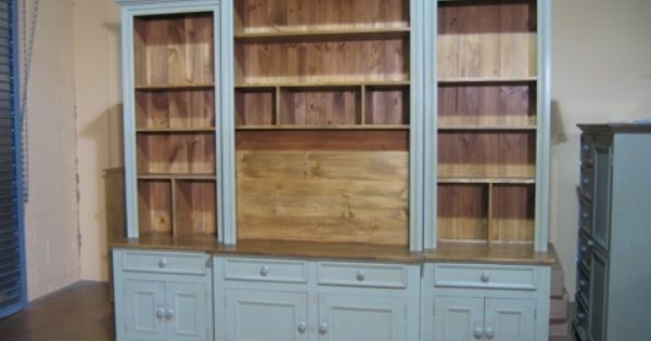 Country Style Entertainment Media Center In Light Blue With