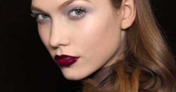 winter allure- loose curls-dark red lips.