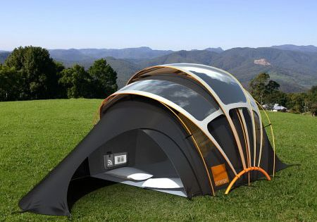 #Orange Chill 'N' Charge Tent- SolarTent That Glows. the source : http://alittlecampy.com/orange-chill-n-charge-tent-solar-tent-that-glows/