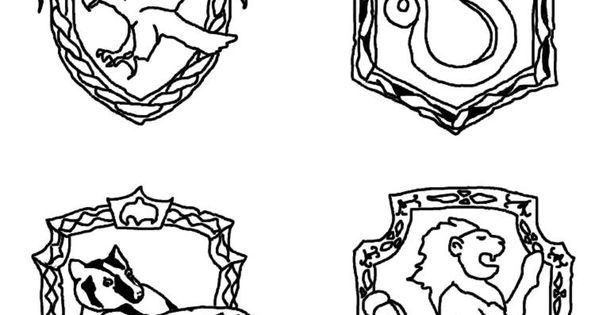 Coloring By Number Page Harry Potter House Crests